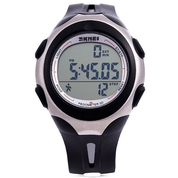 Relógio Pedômetro Masculino Skmei Digital 1107 Preto e Prata