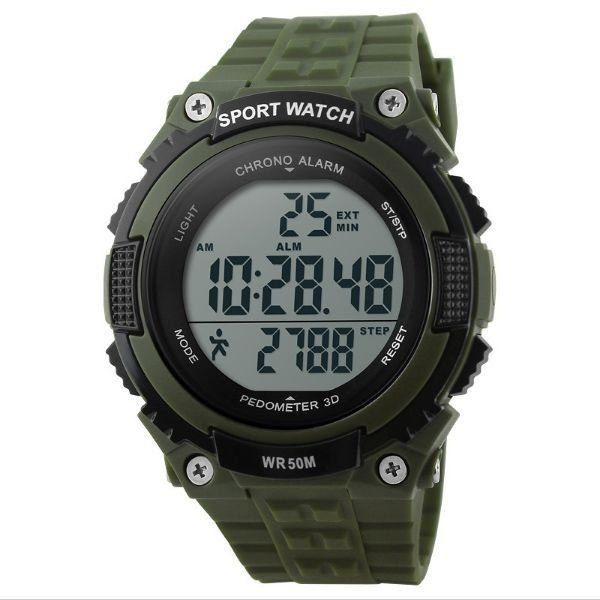 Relógio Pedômetro Masculino Skmei Digital 1112 Verde e Preto