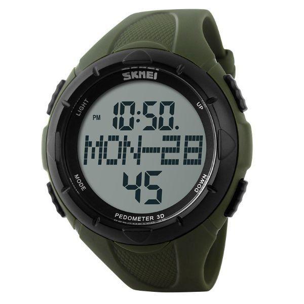 Relógio Masculino Skmei Digital Pedômetro 1122 Verde e Preto