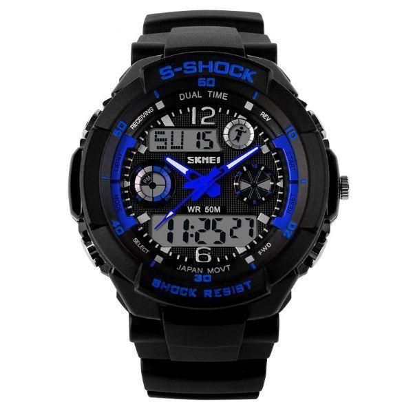 Relógio Masculino Skmei Anadigi 0931 Preto e Azul
