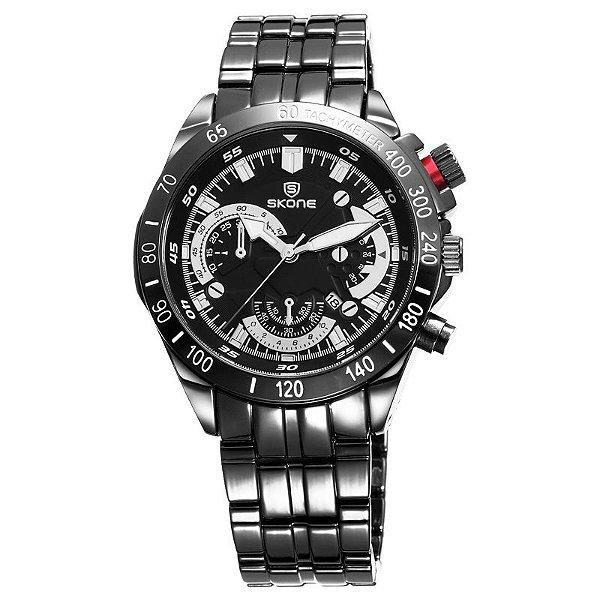 Relógio Masculino Skone Analogico Preto - 7388  (Submostradores ILUSTRATIVO)