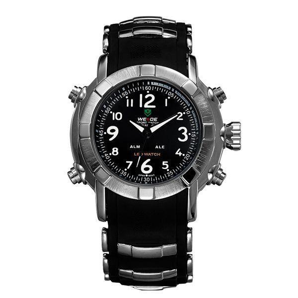 Relógio Masculino Weide AnaDigi WH-1106 - Preto, Prata e Branco