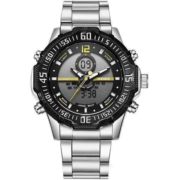 Relógio Masculino Weide AnaDigi WH-6105 - Prata, Preto e Amarelo