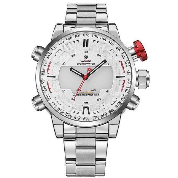 Relógio Masculino Weide Anadigi WH-6402 Branco