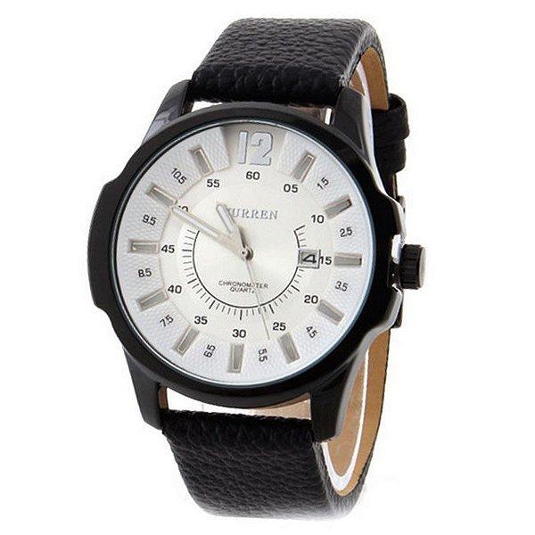 Relógio Curren Analógico 8123 Branco