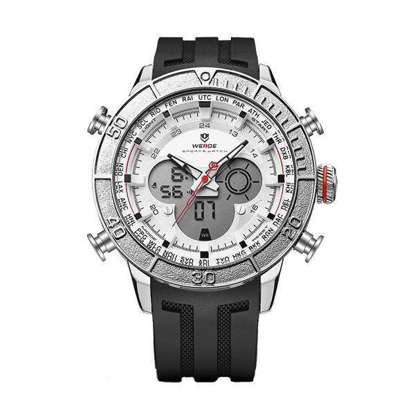 Relógio Masculino Weide AnaDigi WH-6308 - Preto, Prata e Branco
