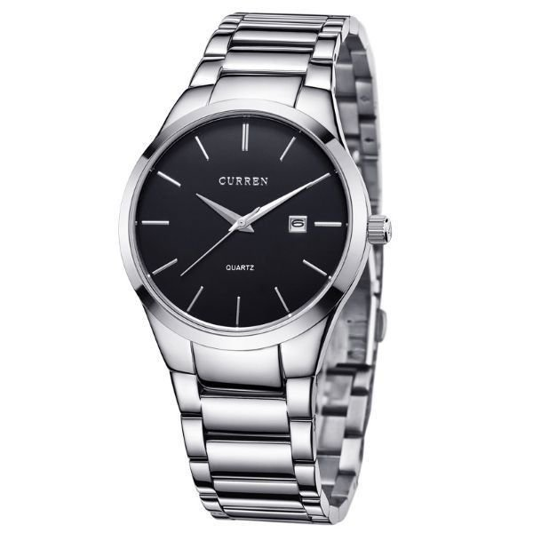 Relógio Masculino Curren Analógico 8106 - Prata e Preto