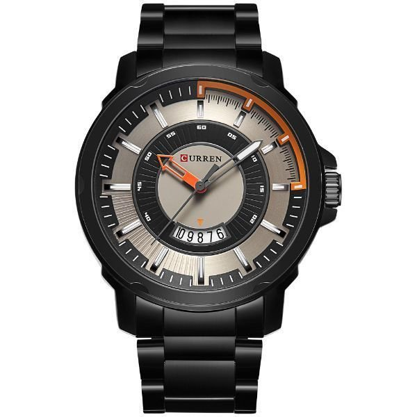 Relógio Masculino Curren Analógico 8229 - Preto e Laranja