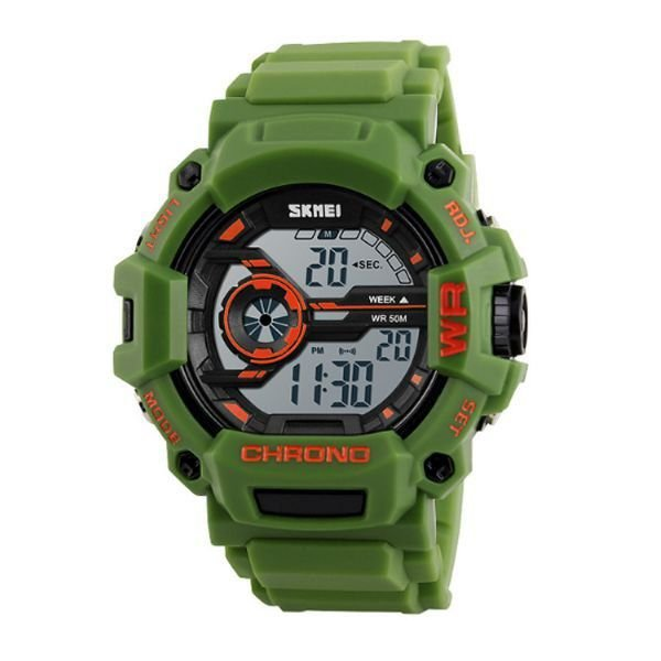 Relógio Masculino Skmei Digital 1233 Verde e Laranja