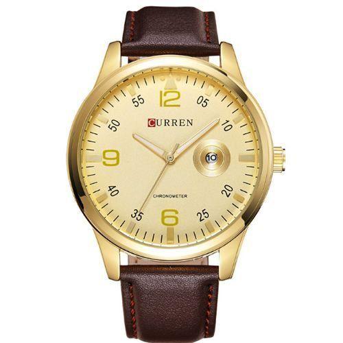 Relógio Curren Analógico 8116 Marrom e Dourado