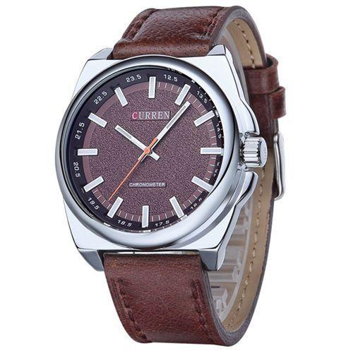 Relógio Curren Analógico 8168 Marrom e Prata