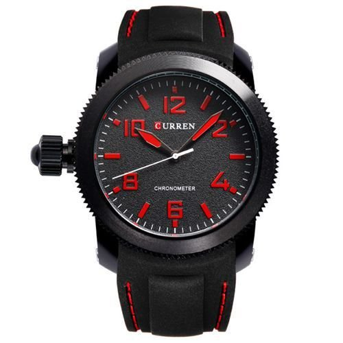 Relógio Curren Analógico 8173 Preto e Vermelho