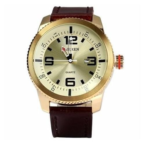 Relógio Curren Analógico 8180 Marrom e Dourado