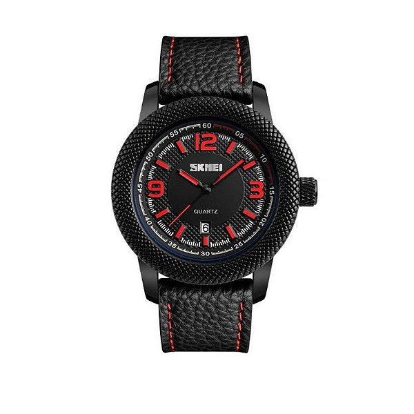 Relógio Masculino Skmei Analógico 9138 - Preto e Vermelho