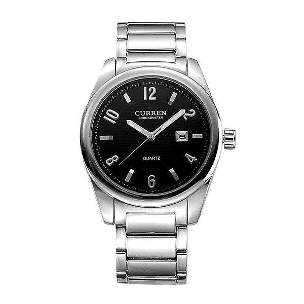 Relógio Masculino Curren Analógico 8048 - Prata e Preto