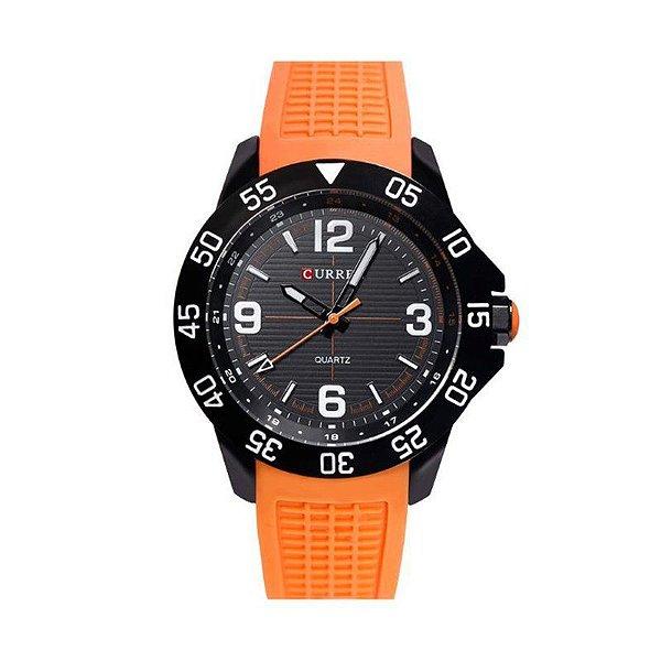 Relógio Masculino Curren Analógico 8181 Preto e Laranja
