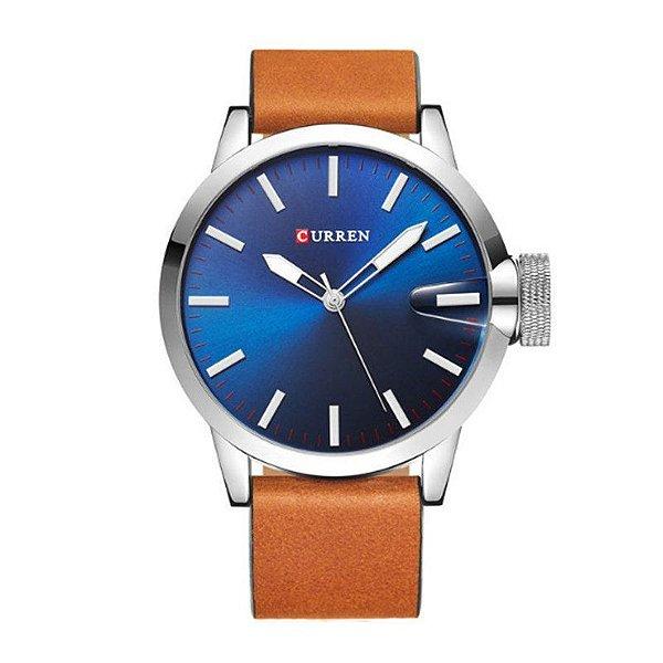 Relógio Masculino Curren Analógico 8208 Prata e Azul