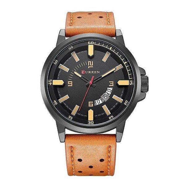 Relógio Masculino Curren Analógico 8228 - Bege e Preto