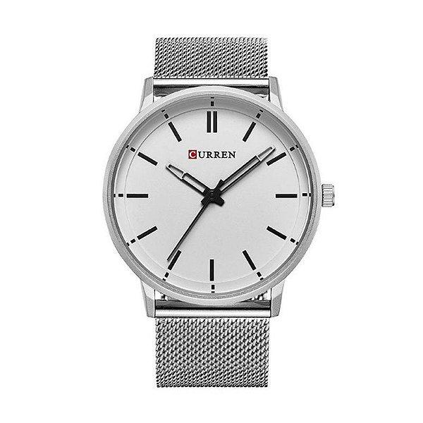 Relógio Masculino Curren Analógico 8233 Prata e Branco