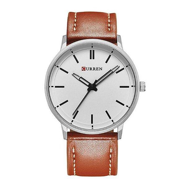 Relógio Masculino Curren Analógico 8233 - Marrom, Prata e Branco