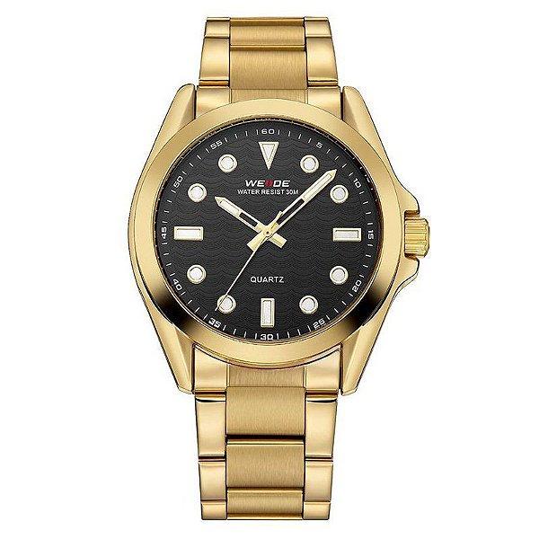Relógio Masculino Weide Analógico WH802 Dourado e Preto