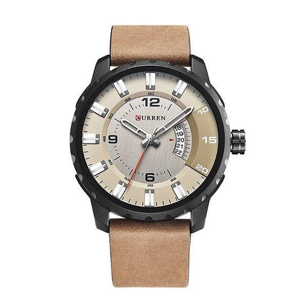 Relógio Masculino Curren Analógico 8245 - Bege e Preto