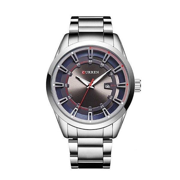 Relógio Masculino Curren Analógico 8246 Prata e Cinza