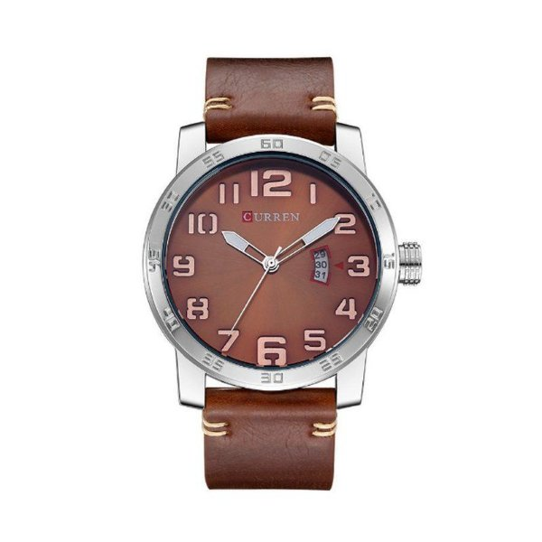 Relógio Masculino Curren Analógico 8254 - Marrom, Prata e Bronze