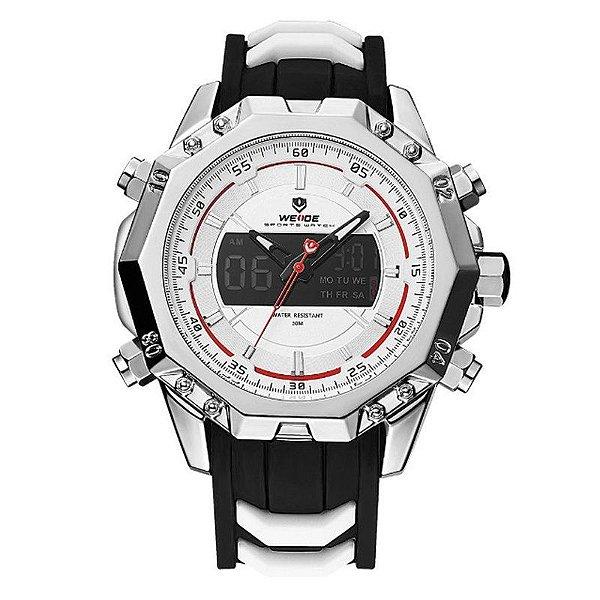 Relógio Masculino Weide Anadigi WH6406 Prata e Branco