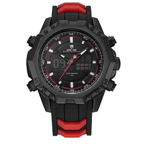 Relógio Masculino Weide Anadigi WH6406 Preto e Vermelho