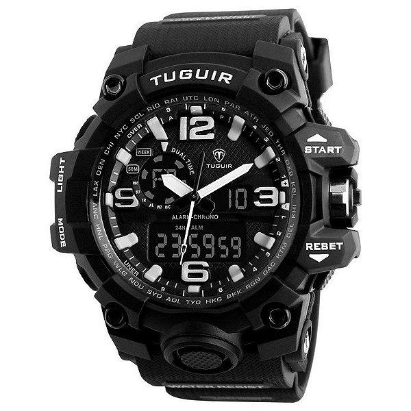 Relógio Masculino Tuguir Anadigi TG1155 Preto e Branco