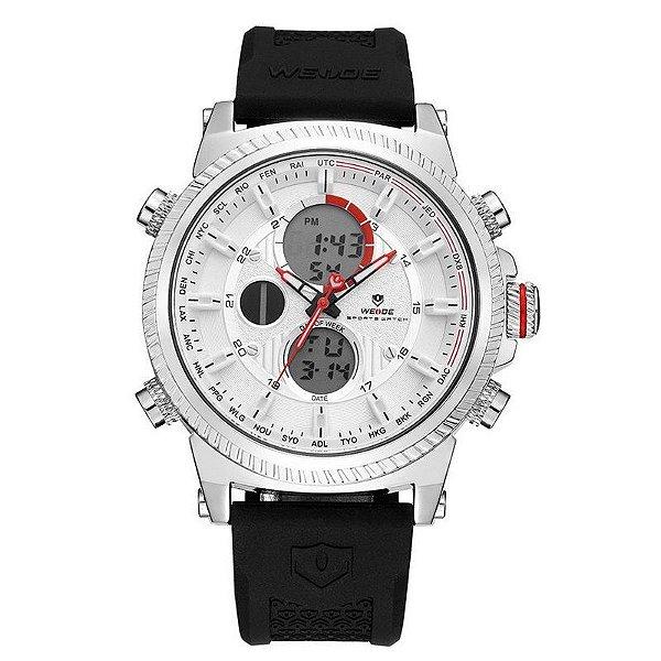 Relógio Masculino Weide Anadigi WH6403 Preto e Branco - ShopDesconto ... 045f26c7e0e4e
