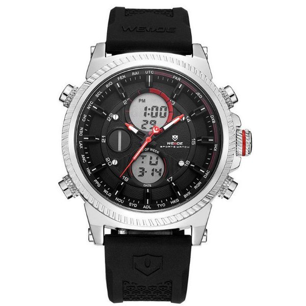 Relógio Masculino Weide AnaDigi WH-6403 - Preto e Prata