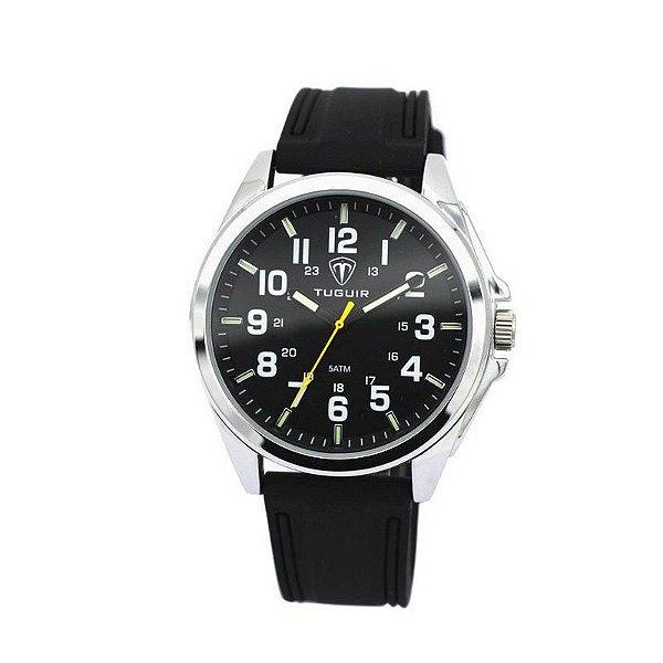 Relógio Masculino Tuguir Analógico 5045 Preto e Prata
