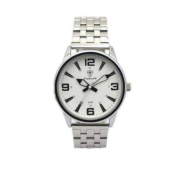 Relógio Masculino Tuguir Analógico 5054 Prata e Branco
