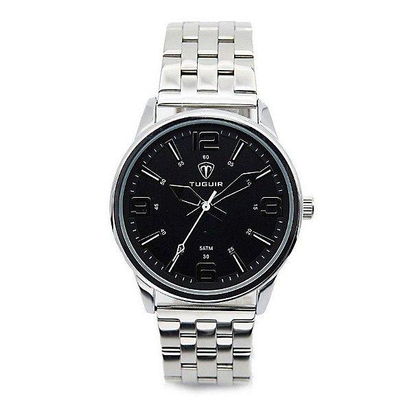 c009f14287 Relógio Masculino Tuguir Analógico 5054 Prata e Preto - ShopDesconto ...