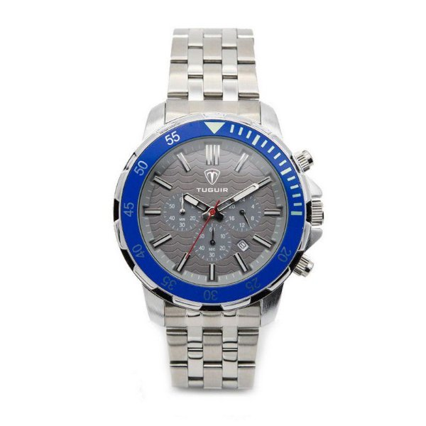 Relógio Masculino Tuguir Analógico 5008 Prata e Azul