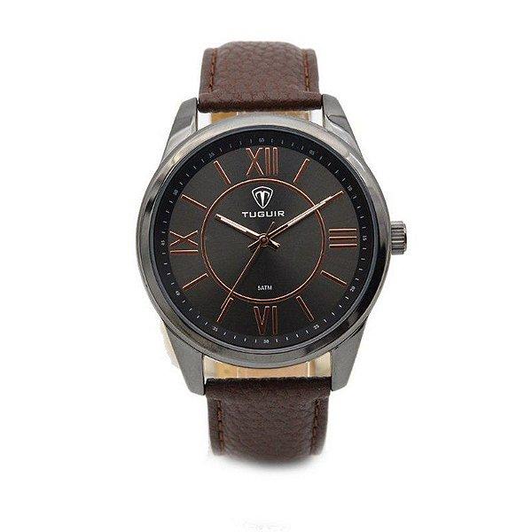 Relógio Masculino Tuguir Analógico 5010 Preto e Marrom