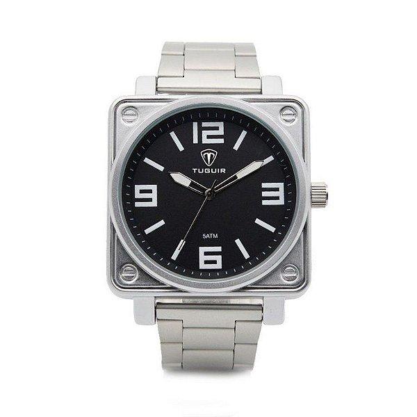 Relógio Masculino Tuguir Analógico 5019 Prata e Preto