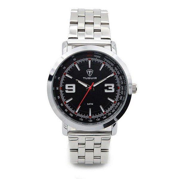 Relógio Masculino Tuguir Analógico 5040 - Prata e Preto