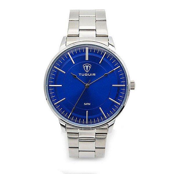 Relógio Masculino Tuguir Analógico 5000 Prata e Azul