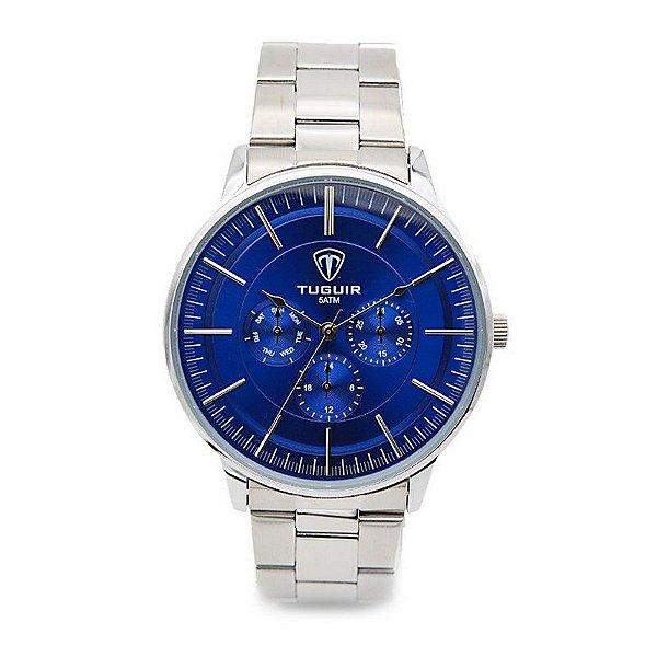 6fac64f725 Relógio Masculino Tuguir Analógico 5002 Prata e Azul - ShopDesconto ...