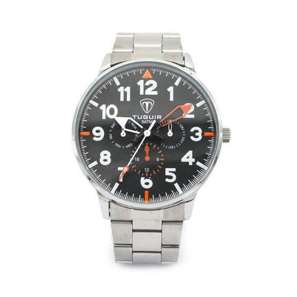 Relógio Masculino Tuguir Analógico 5002 Prata e Preto