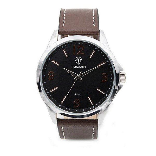Relógio Masculino Tuguir Analógico 5003 Prata e Marrom