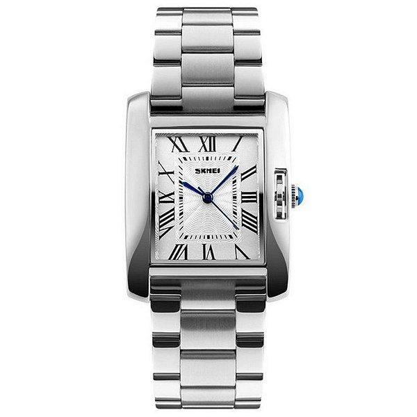 Relógio Feminino Skmei Analógico 1284 - Prata, Branco e Azul