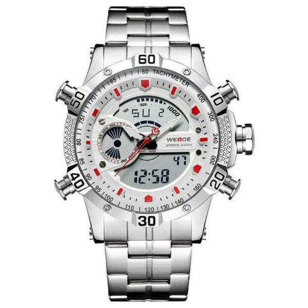 Relógio Masculino Weide AnaDigi WH-6902 - Prata e Branco
