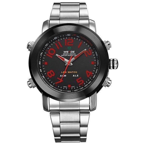 Relógio Masculino Weide AnaDigi WH-1105 - Prata, Preto e Vermelho