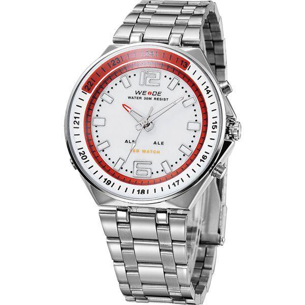 Relógio Masculino Weide AnaDigi WH-849 - Prata, Branco e Vermelho