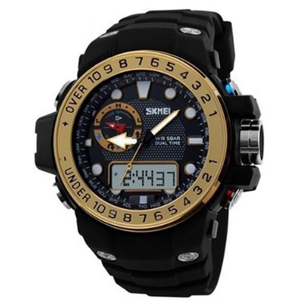 Relógio Masculino Skmei Anadigi 1063 Preto e Dourado
