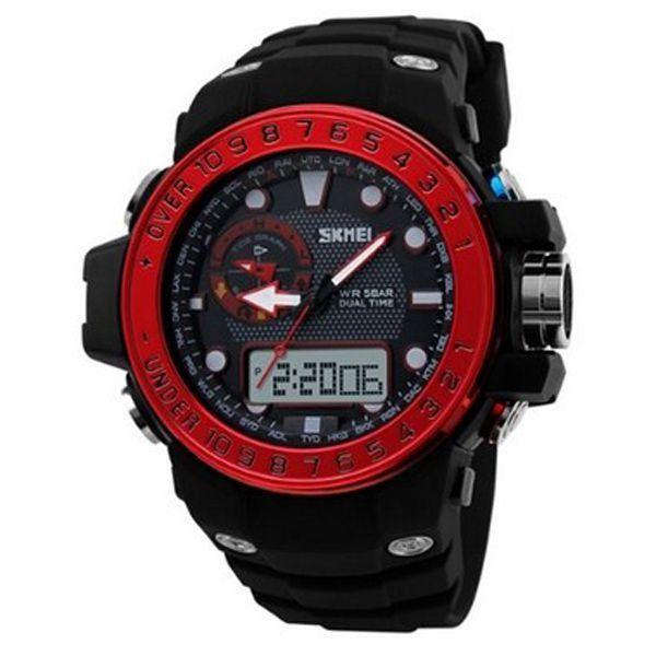 Relógio Masculino Skmei Anadigi 1063 Preto e Vermelho